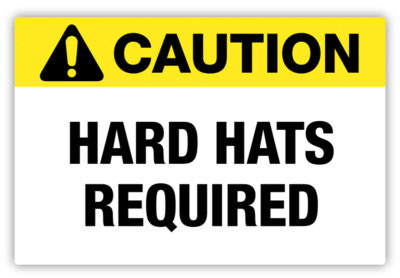 Hard Hats Required Label