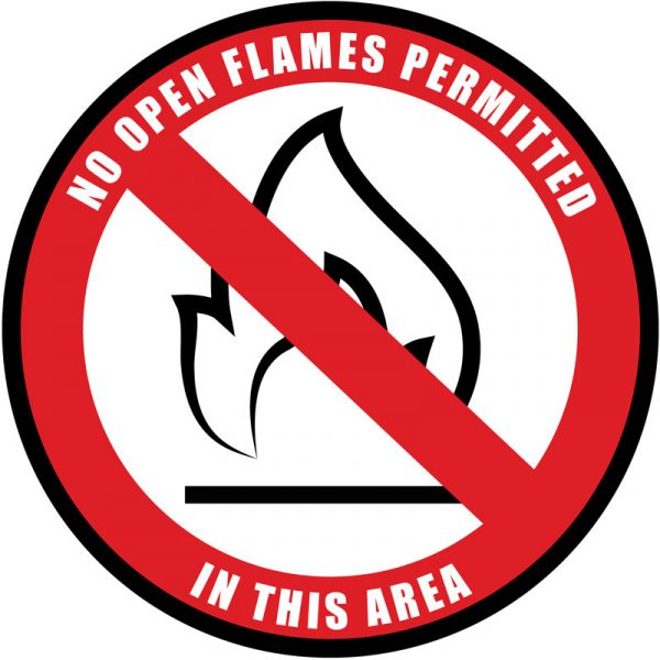 No Open Flames In This Area Sign