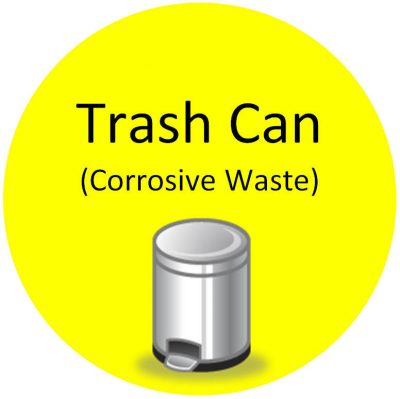 Trash Can Corrosive Waste Sign