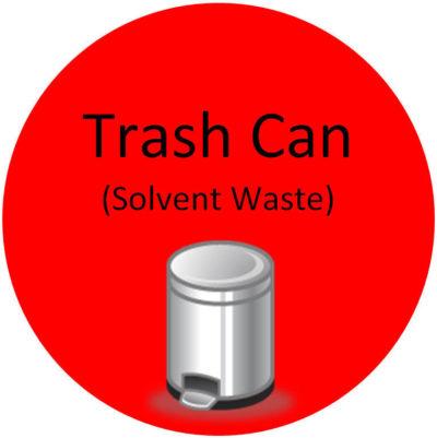 Trash Can Solvent Waste Sign