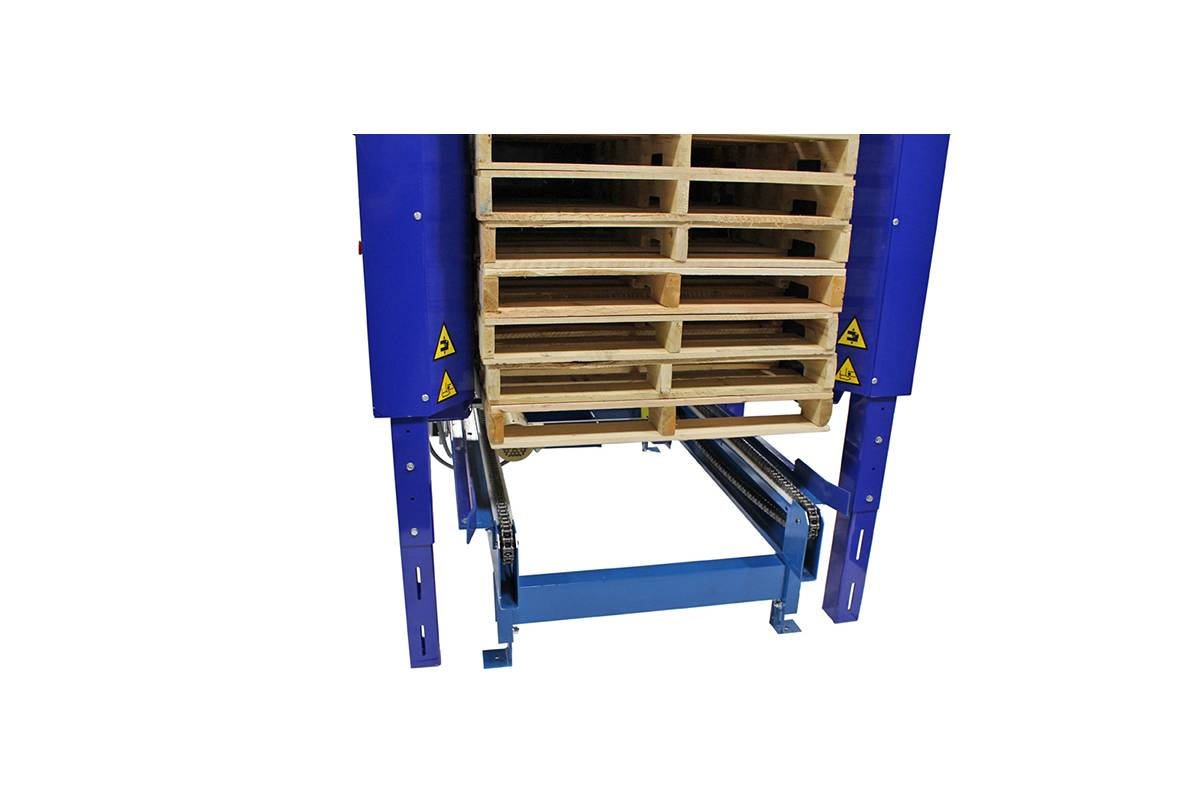 INLINE PALLET DISPENSER WOOD BLOCK PALLET 1