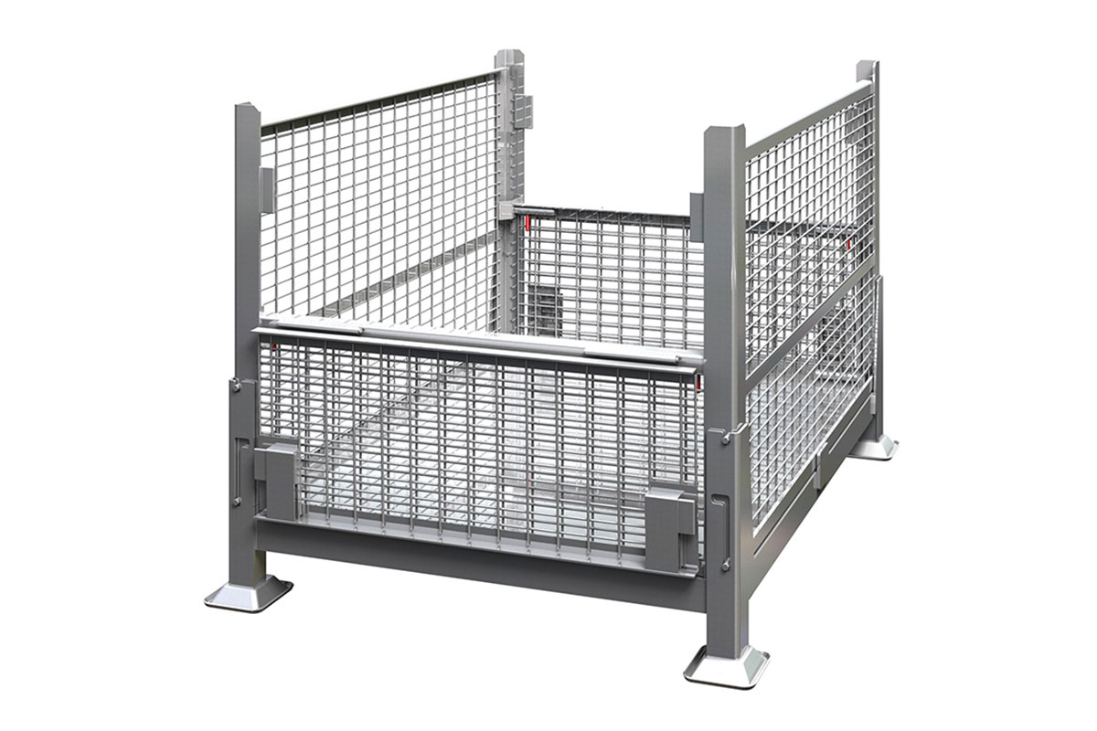 Collapsible Rigid Wire Container Dual Drop Gate 3