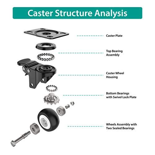 2 inch Swivel Caster Wheels, Heavy Duty Plate Casters 3