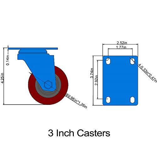 3 inch Heavy Duty Casters, Lockable Bearing 2