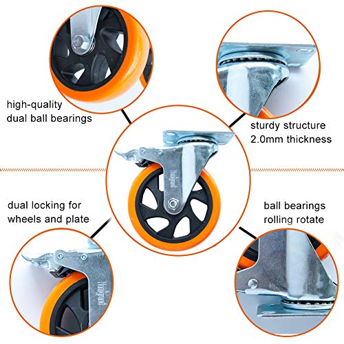 """5"""" Swivel Casters Wheels with Screw Safety Dual Locking 2"""