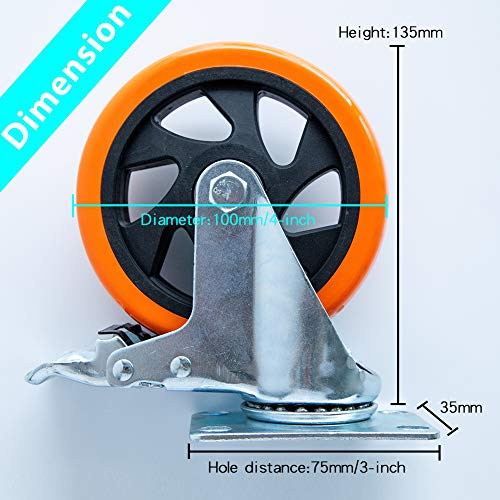 """5"""" Swivel Casters Wheels with Screw Safety Dual Locking 4"""