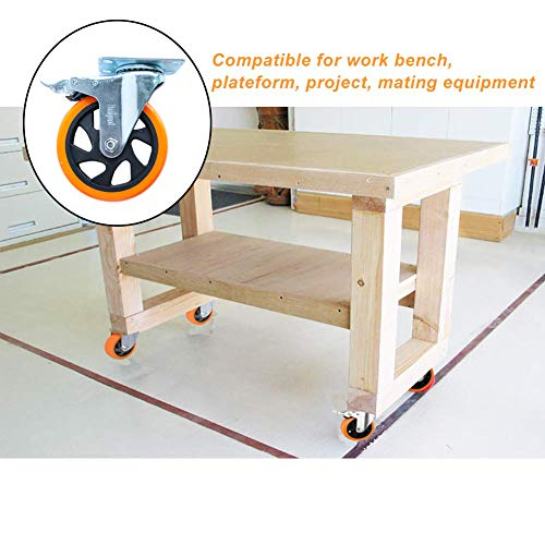 """5"""" Swivel Casters Wheels with Screw Safety Dual Locking 5"""