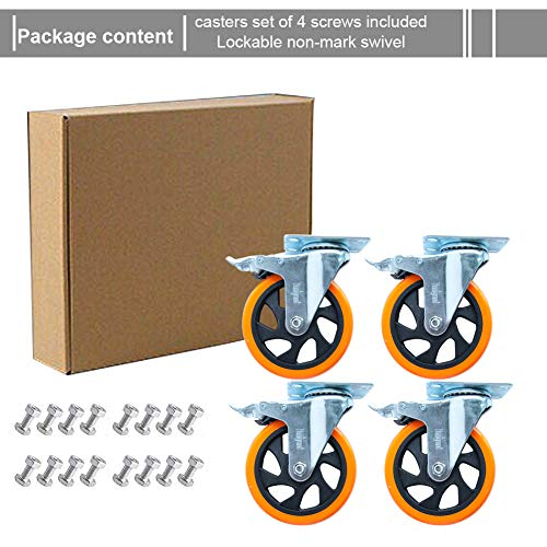 """5"""" Swivel Casters Wheels with Screw Safety Dual Locking 6"""