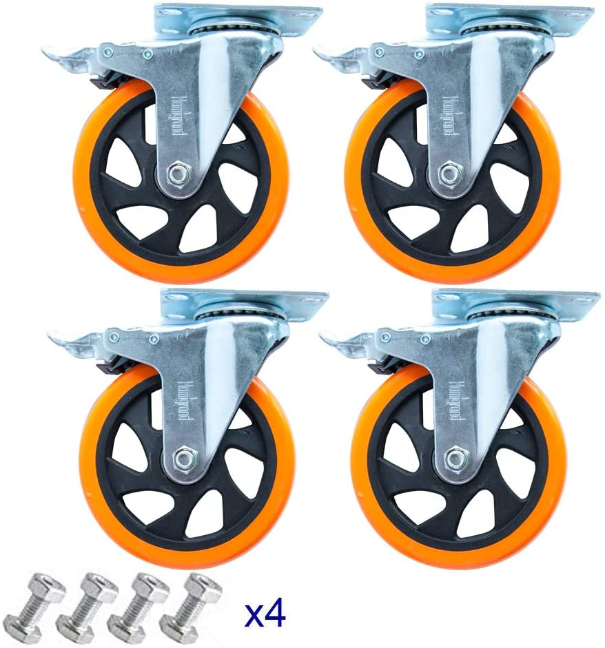 """5"""" Swivel Casters Wheels with Screw Safety Dual Locking 1"""