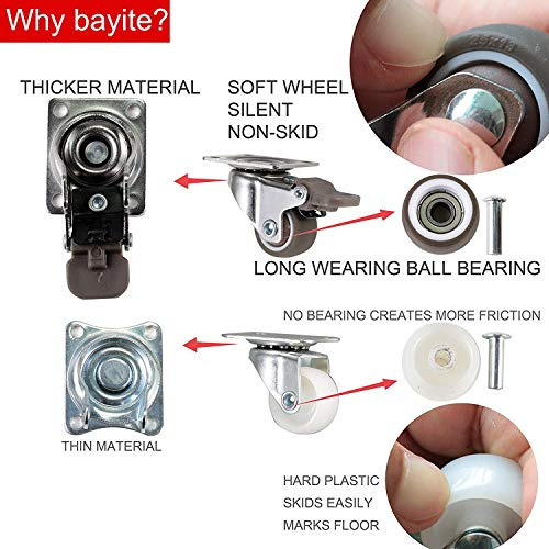 """bayite 4 Pack 1"""" Low Profile Casters Wheels 2"""