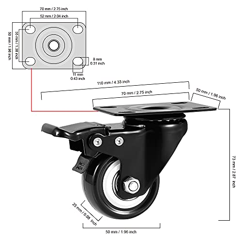 """CLOATFET Caster Wheels, 2"""" Casters with Brake 2"""