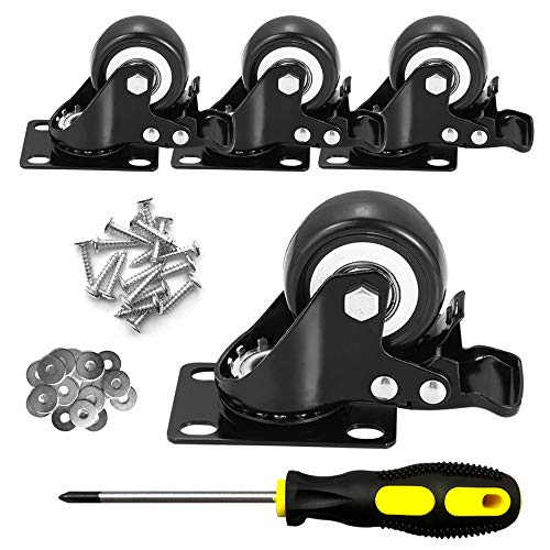 """CLOATFET Caster Wheels, 2"""" Casters with Brake 3"""