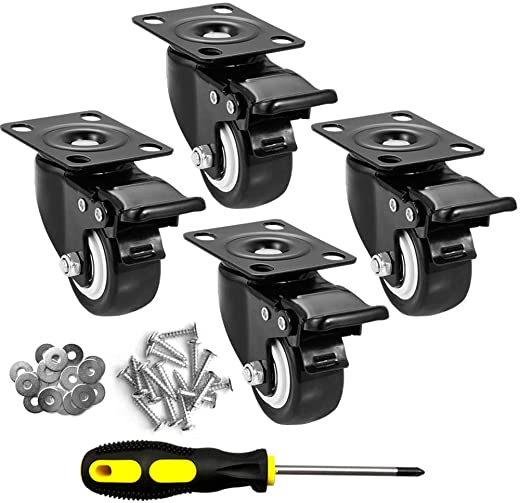 """CLOATFET Caster Wheels, 2"""" Casters with Brake 1"""
