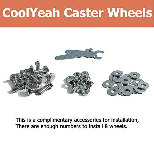 CoolYeah 3 inch Swivel Plate PVC Caster Wheels 2