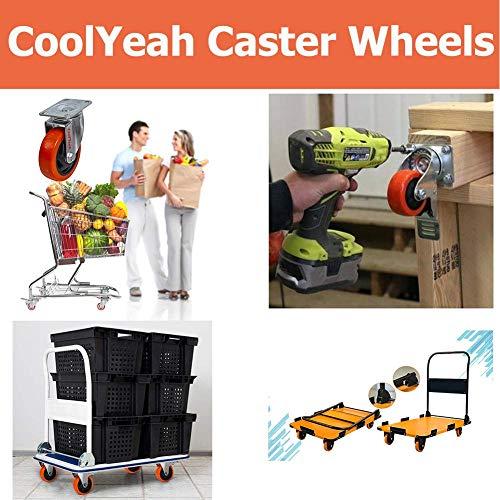 CoolYeah 3 inch Swivel Plate PVC Caster Wheels 3
