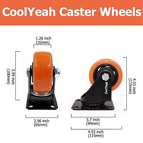 CoolYeah 3 inch Swivel Plate PVC Caster Wheels 5