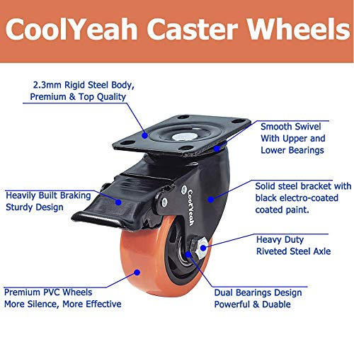 CoolYeah 3 inch Swivel Plate PVC Caster Wheels 6