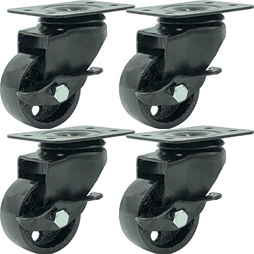FactorDuty 4 All Black Metal Swivel Plate Caster Wheels 1