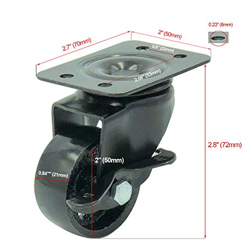 FactorDuty 4 All Black Metal Swivel Plate Caster Wheels 2