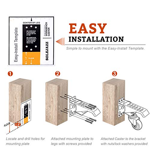 SOLEJAZZ Workbench Caster kit 660 LBS 6