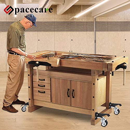 SPACECARE Workbench Casters kit 600Lbs Heavy Duty Quick Release 6