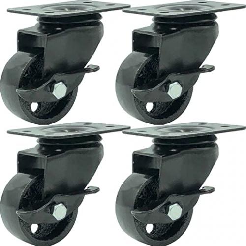 FactorDuty 4 All Black Metal Swivel Plate Caster Wheels